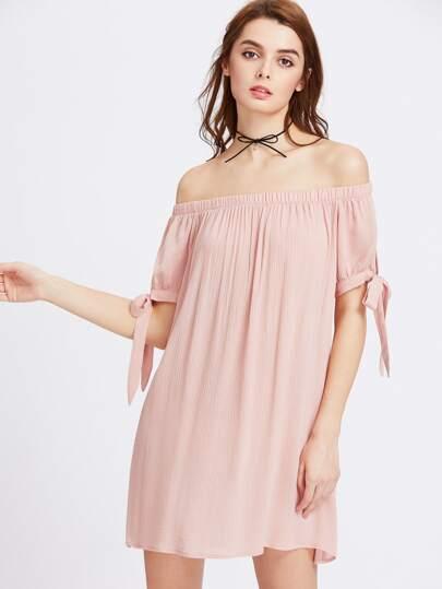Split Self Tie Sleeve Crinkle Off Shoulder Dress
