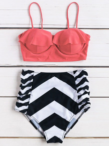 Chevron Print Ruffle Design High Waist Bikini Set