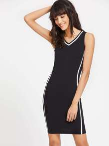 V-Neckline Contrast Binding Tank Dress