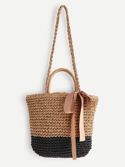 Tassel Detail Color Block Straw Shoulder Bag With Handle