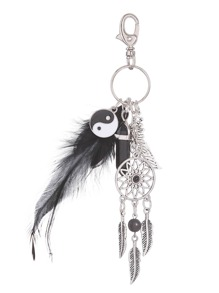 Plume Orange Onyx Taiji Keychain
