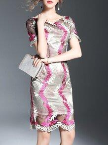 Red Gauze Embroidered Sheath Dress