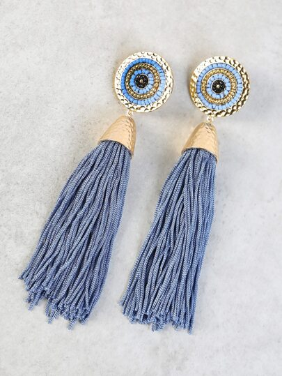 Beaded Disc Tassel Drop Earrings BLUE