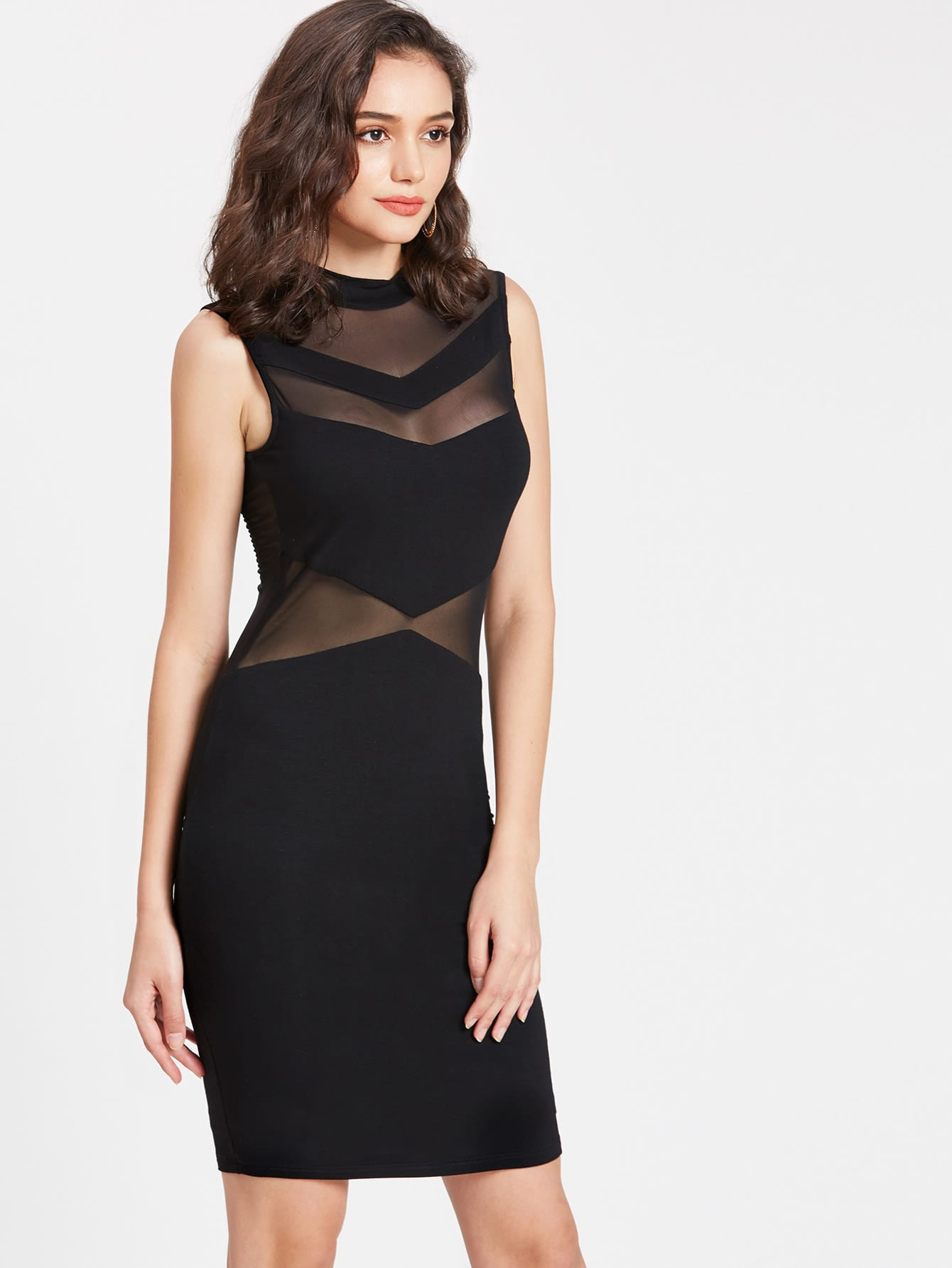 Фото Chevron Peekaboo Mesh Bodycon Dress. Купить с доставкой