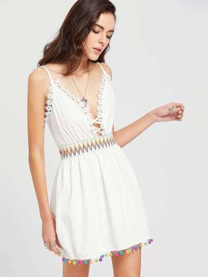 Lace Detailed Pom Pom Trim Slip Dress