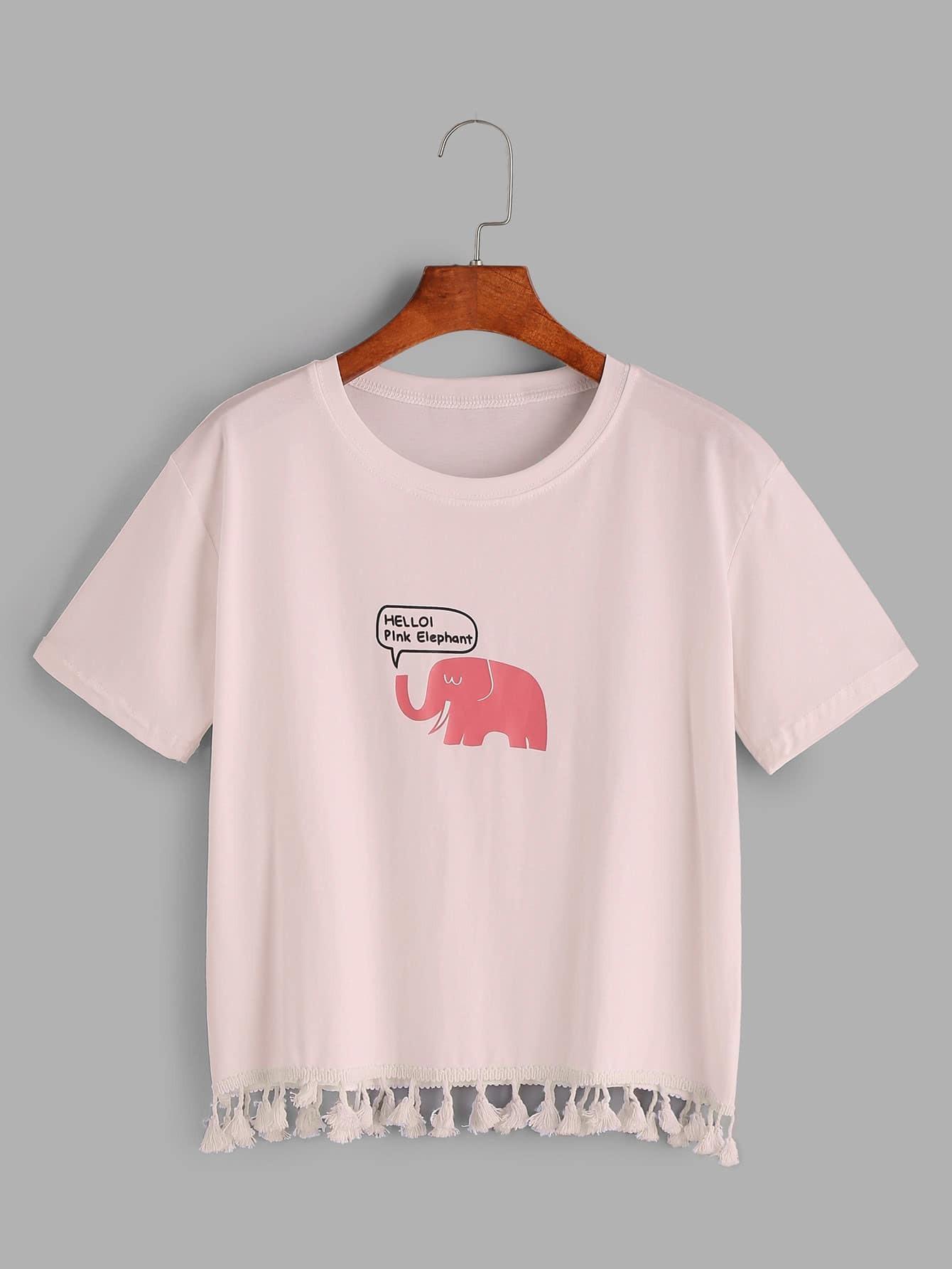 Фото Elephant Print Tassel Hem T-shirt. Купить с доставкой
