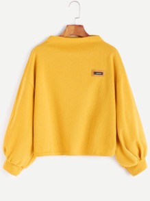 Funnel Neck Lantern Sleeve Patch Sweatshirt