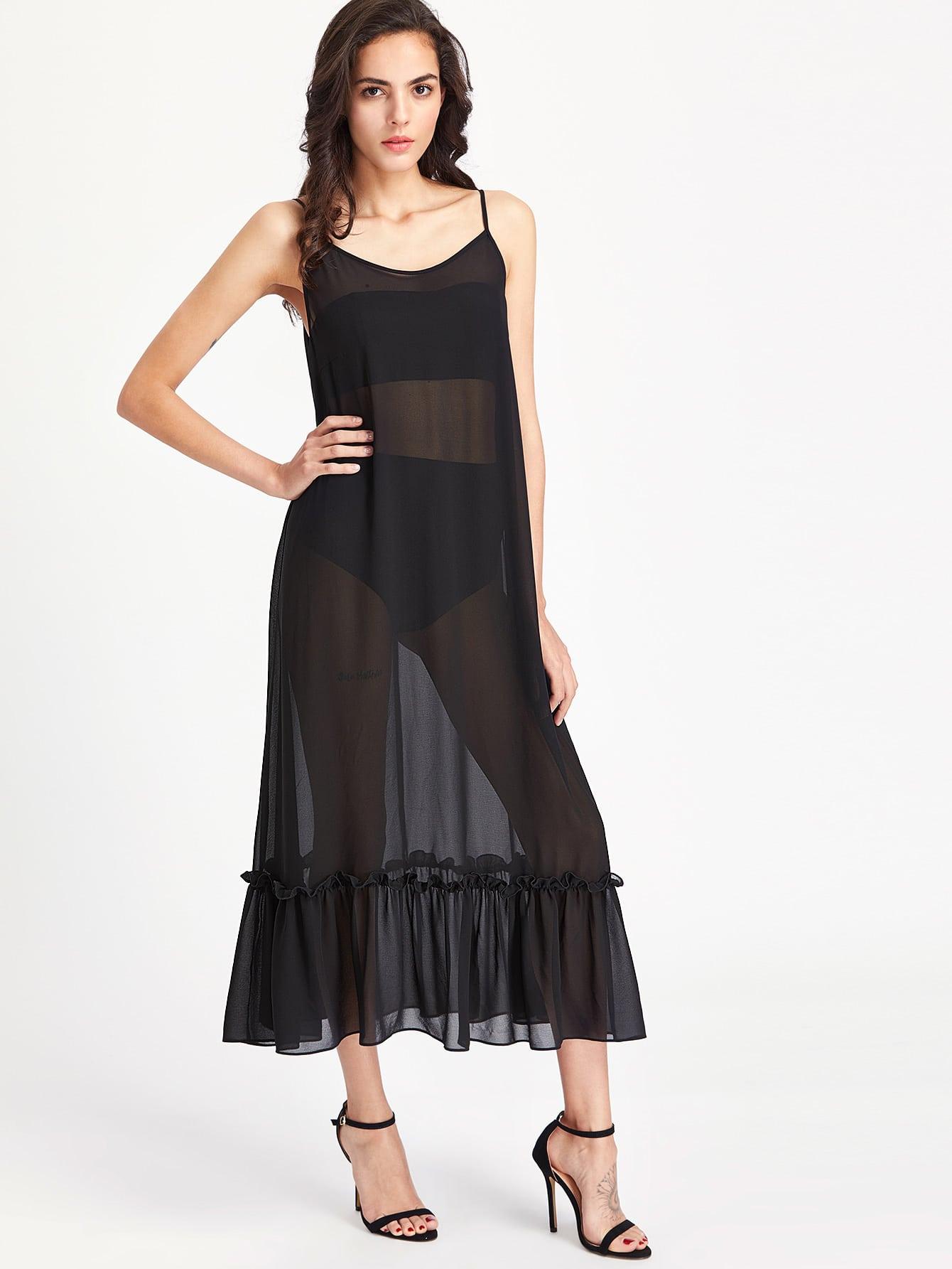 Фото Frill Hem Sheer Cami Dress. Купить с доставкой