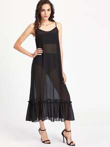 Frill Hem Sheer Cami Dress