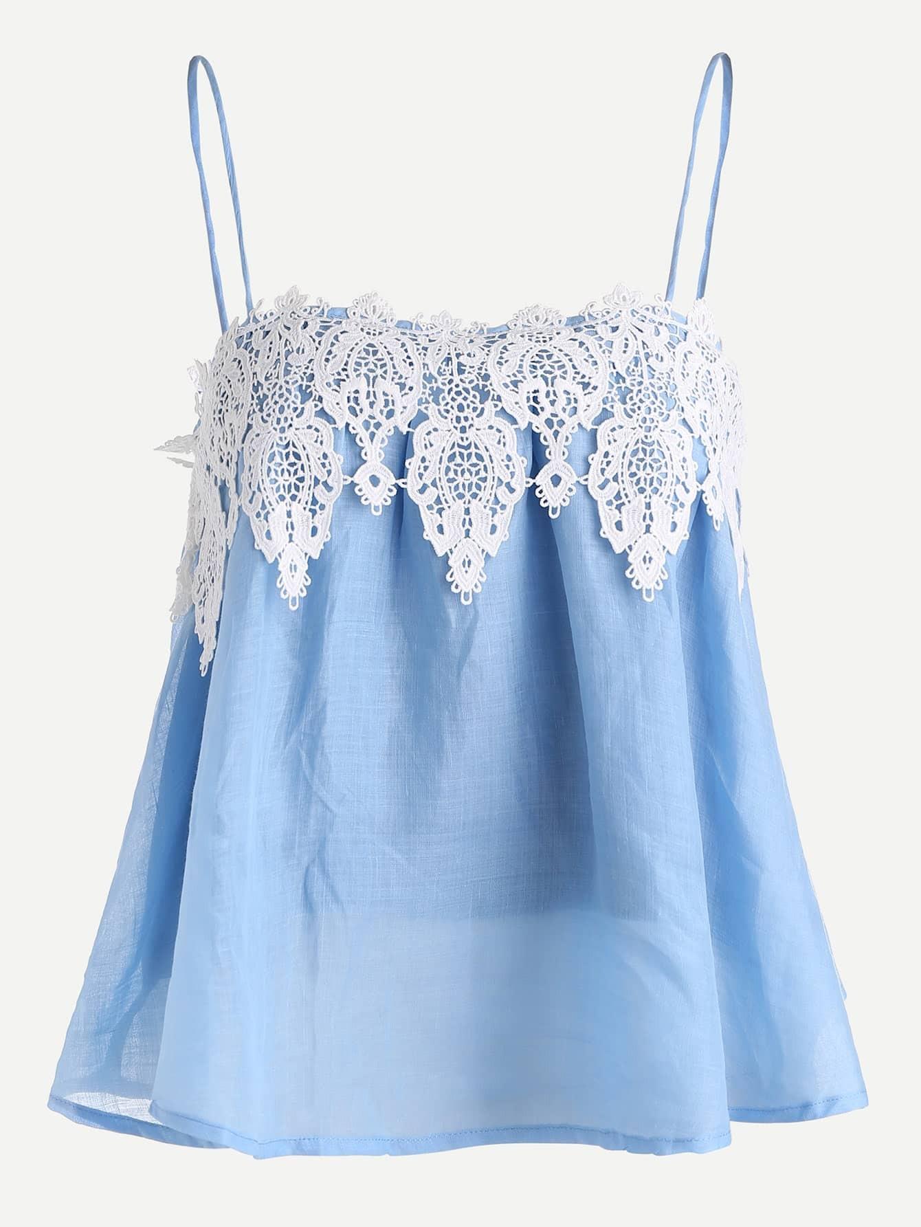 Фото Contrast Lace Applique Trapeze Cami Top. Купить с доставкой