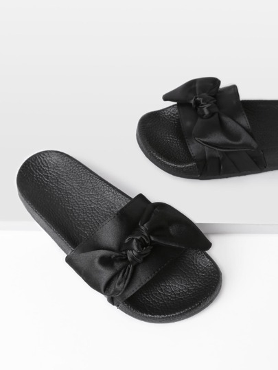 Bow Tie Design Satin Slides