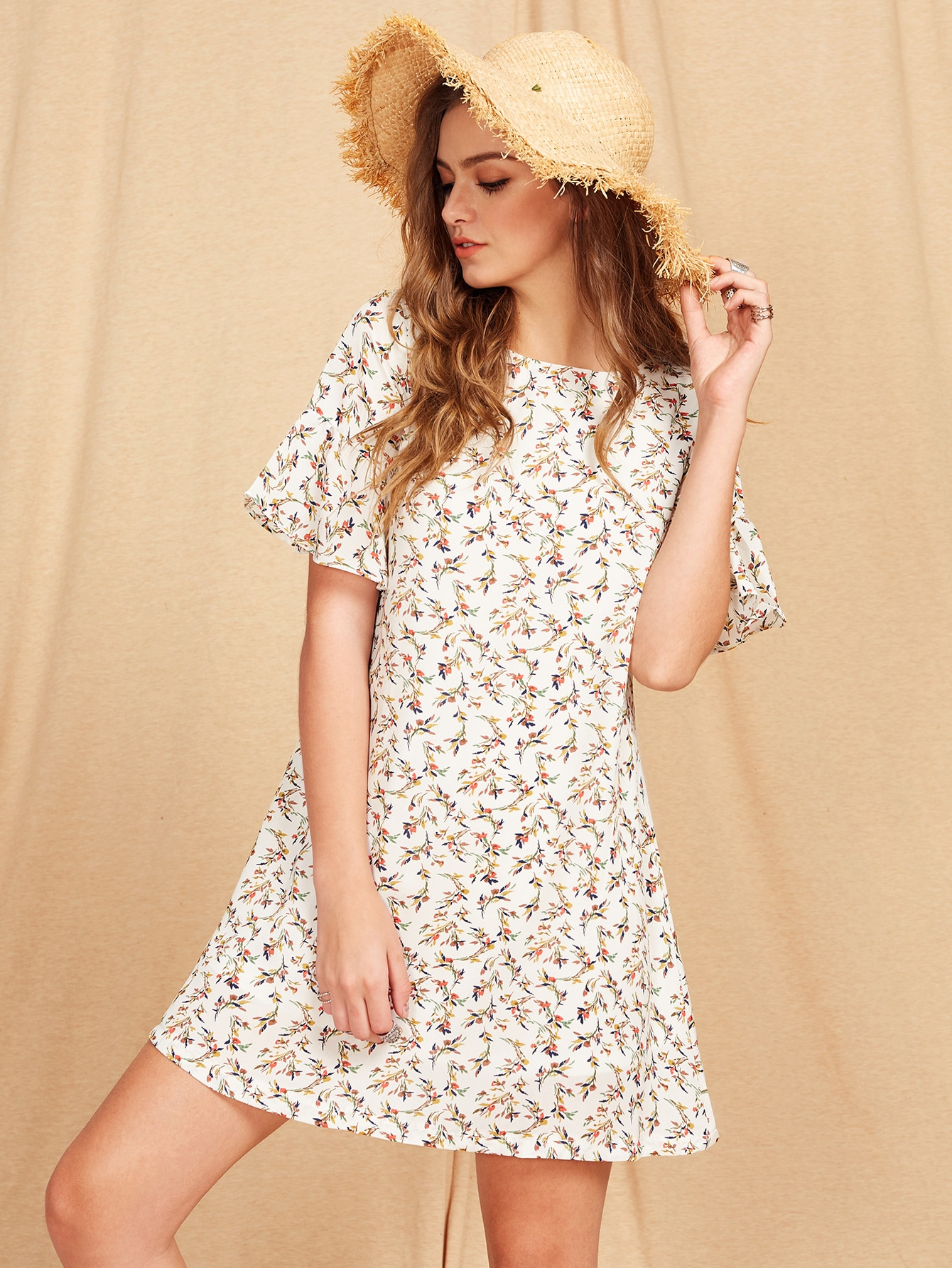 Flutter Sleeve Ditsy Dress 220вольт скил 5866 аф