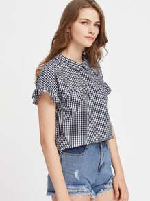Peter Pan Collar Tie Back Ruffle Sleeve Gingham Top