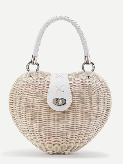 Heart Shaped Straw Bag With Twist Lock