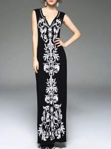 Black V Neck Embroidered Beading Maxi Dress