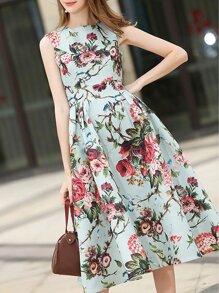 فستان بلا كم طباعة الزهور