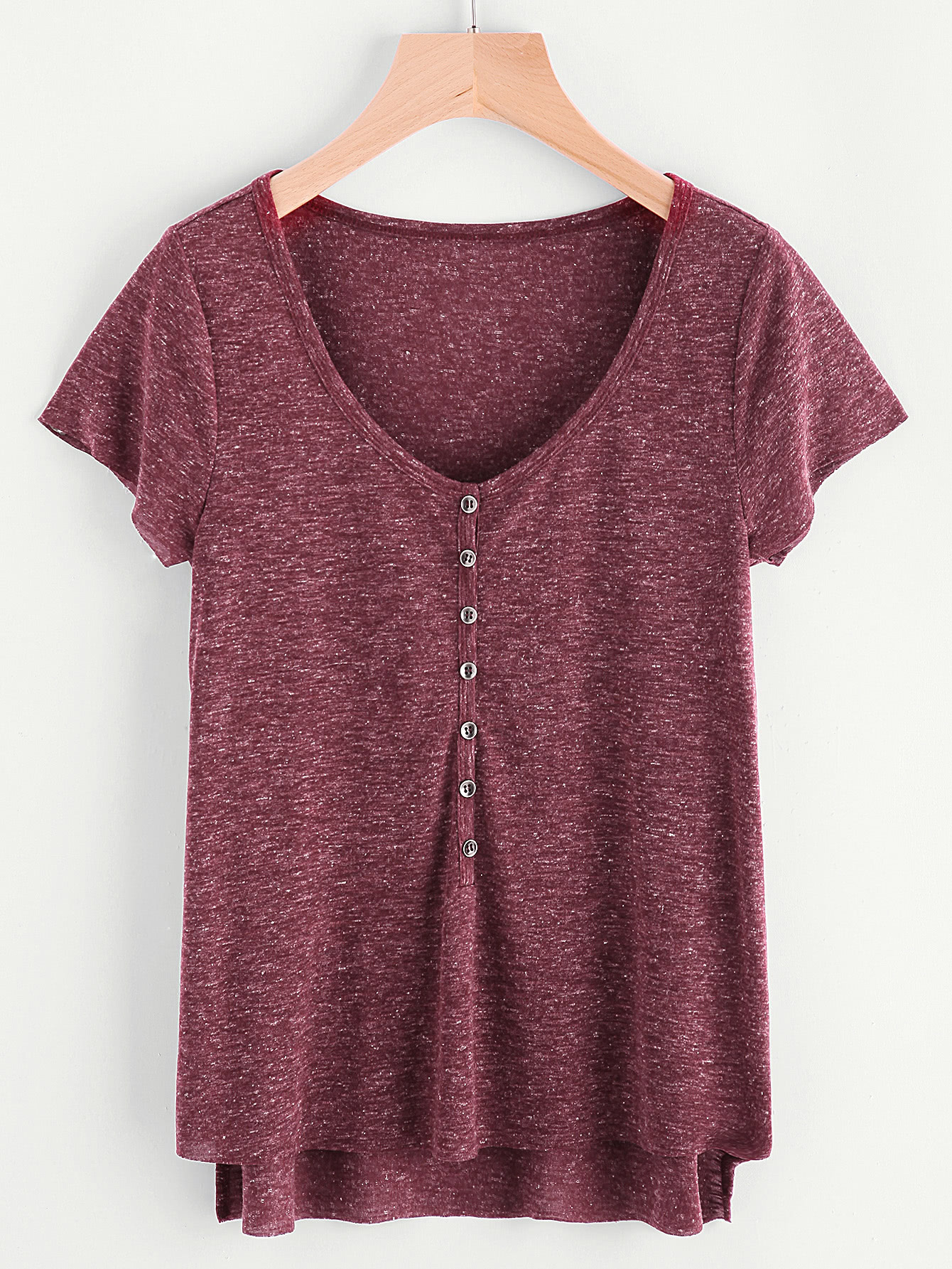 Marled Knit Button Front Staggered Hem T-shirt marled knit button front staggered hem t shirt