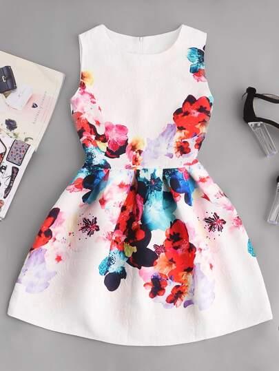 Vestido de cintura ajustada relieve de flor