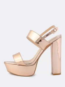 Metallic Sling Back Chunky Heels ROSE GOLD
