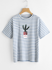 Contrast Striped Cactus Print Casual T-shirt