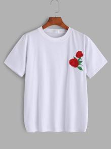 Camiseta con bordado de flor - blanco
