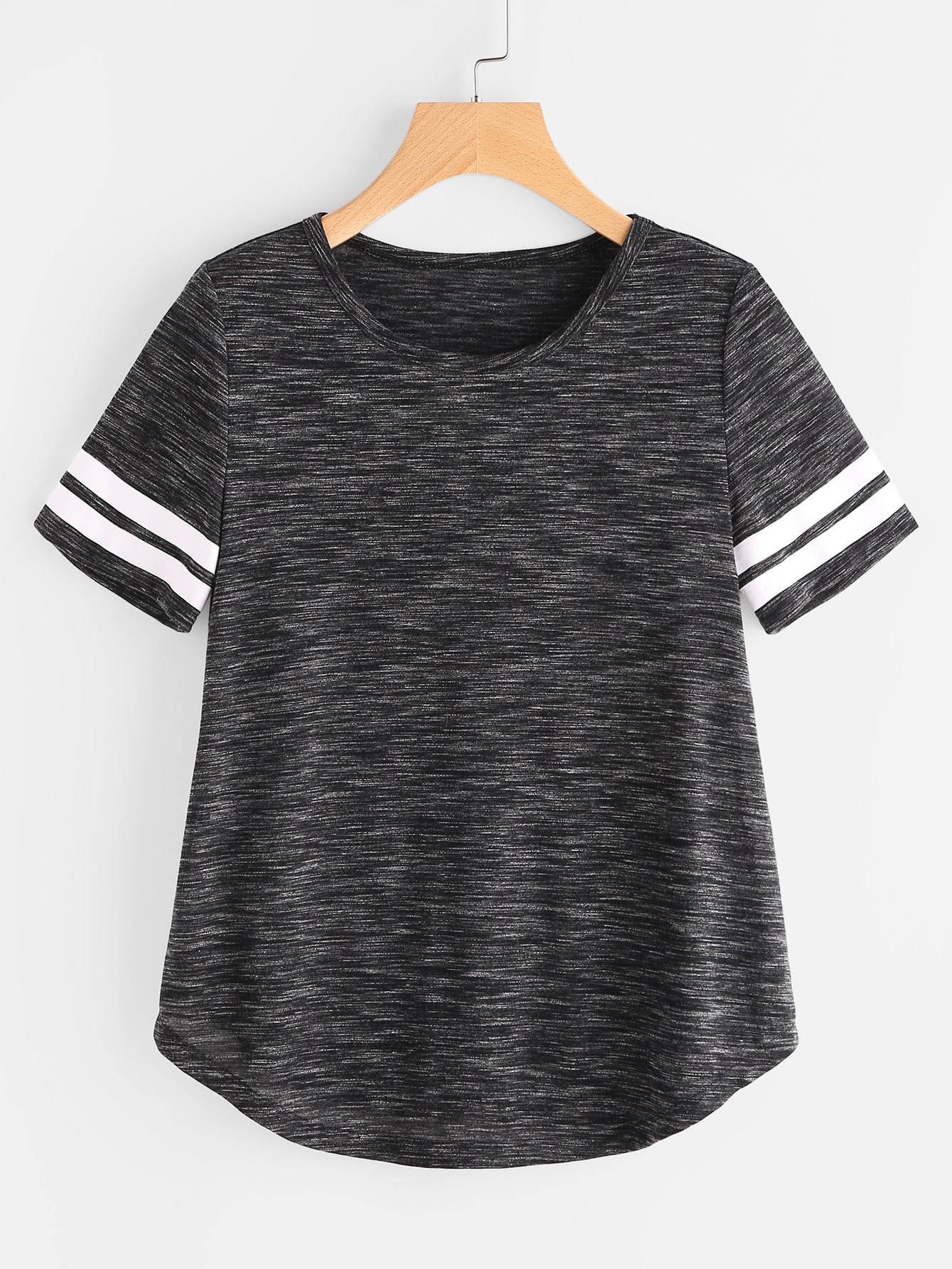 Space Dye Striped Sleeve Curved Hem Tee