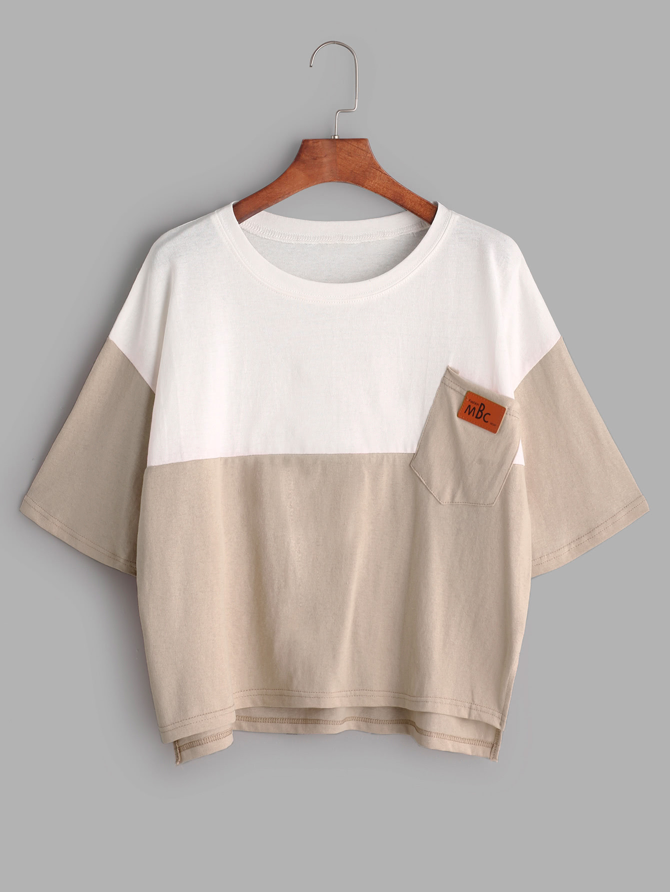 Color Block Slit Side High Low Tee With Chest Pocket ds202 low price pocket oscilloscope with color display