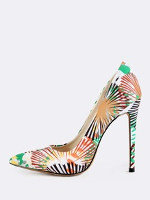 Palm Print Pointed Toe High Heel Pumps GREEN
