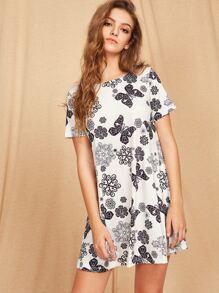 Flower And Butterfly Print Short Sleeve Dress