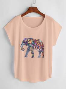 Tee-shirt imprimé de l'éléphant