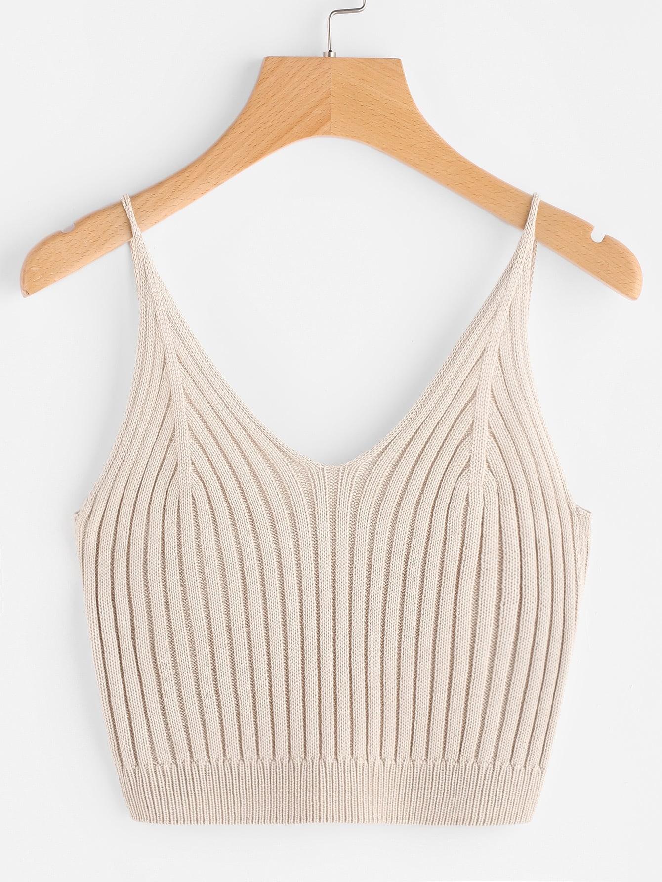 Rib Knit Crop Cami Top vest170425450