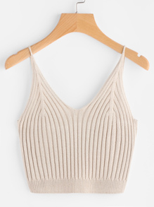 Rib Knit Crop Cami Top ROMWE
