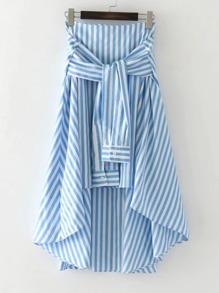 Sleeve Tie Vertical Striped Asymmetrical Skirt