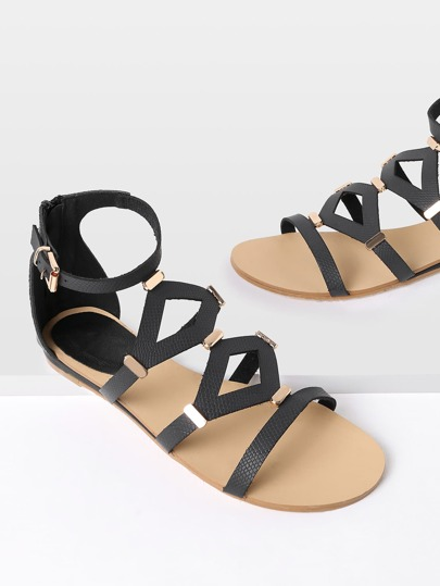 Metal Detail Cut Out Flat Sandals