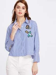 Vertical Striped Hidden Placket Embroidery Blouse