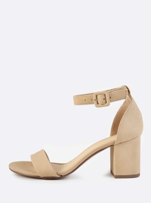 Chunky Ankle Strap Heels NUDE