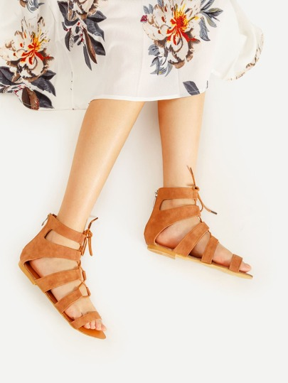 Lace Up Gladiator Flat Sandals