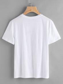 T-shirt con spalle corte e stampa di slogan immagini