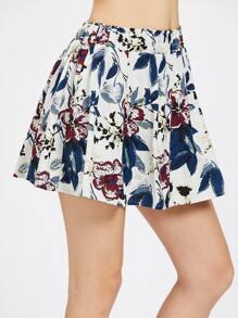 Falda con cintura elástica con estampado floral con vuelo