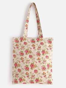 Calico Print Linen Tote Bag