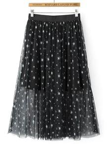 Falda con cintura elástica con estampado de estrella de malla
