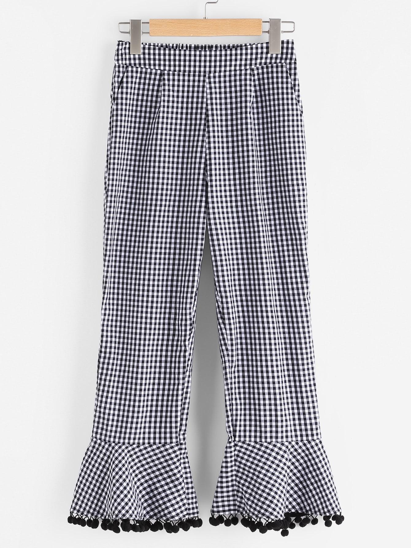 Фото Side Zip Pom Pom Flare Hem Checkered Pants. Купить с доставкой
