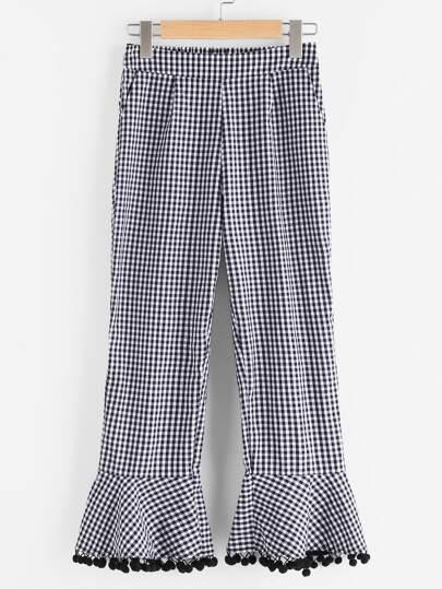 Side Zip Pom Pom Flare Hem Checkered Pants