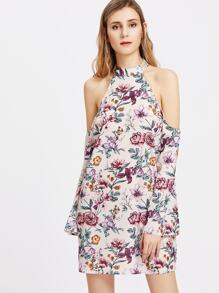Halterneck Floral Keyhole Back Dress