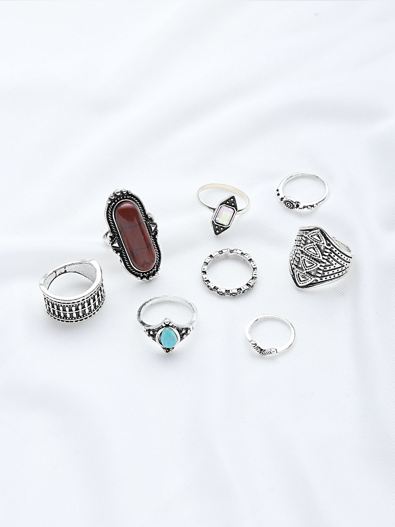 Gemstone Design Ring Set 10pcs antique gold gemstone ring set