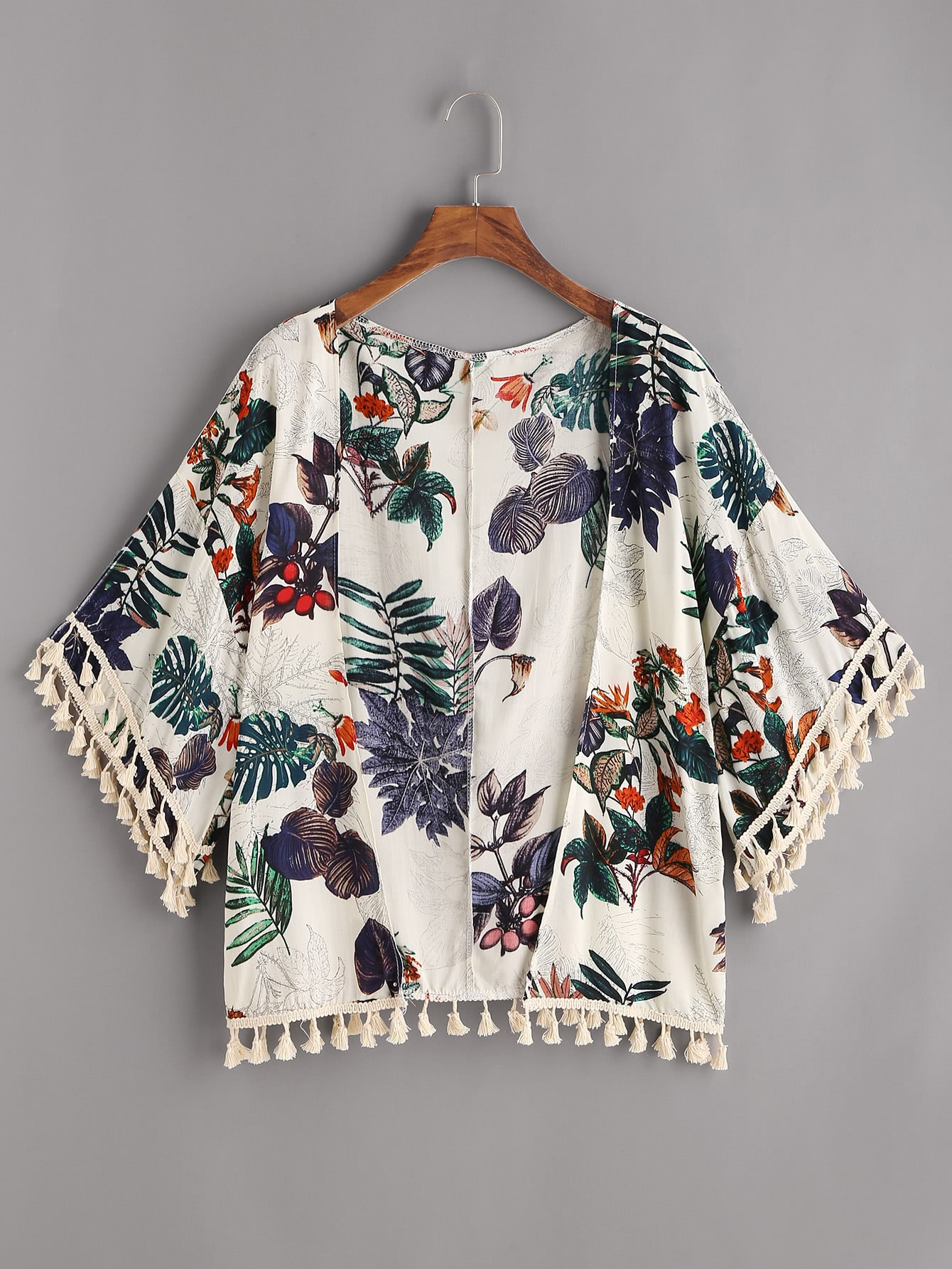 Tropical Print Fringe Trim Kimono paisley print fringe trim kimono
