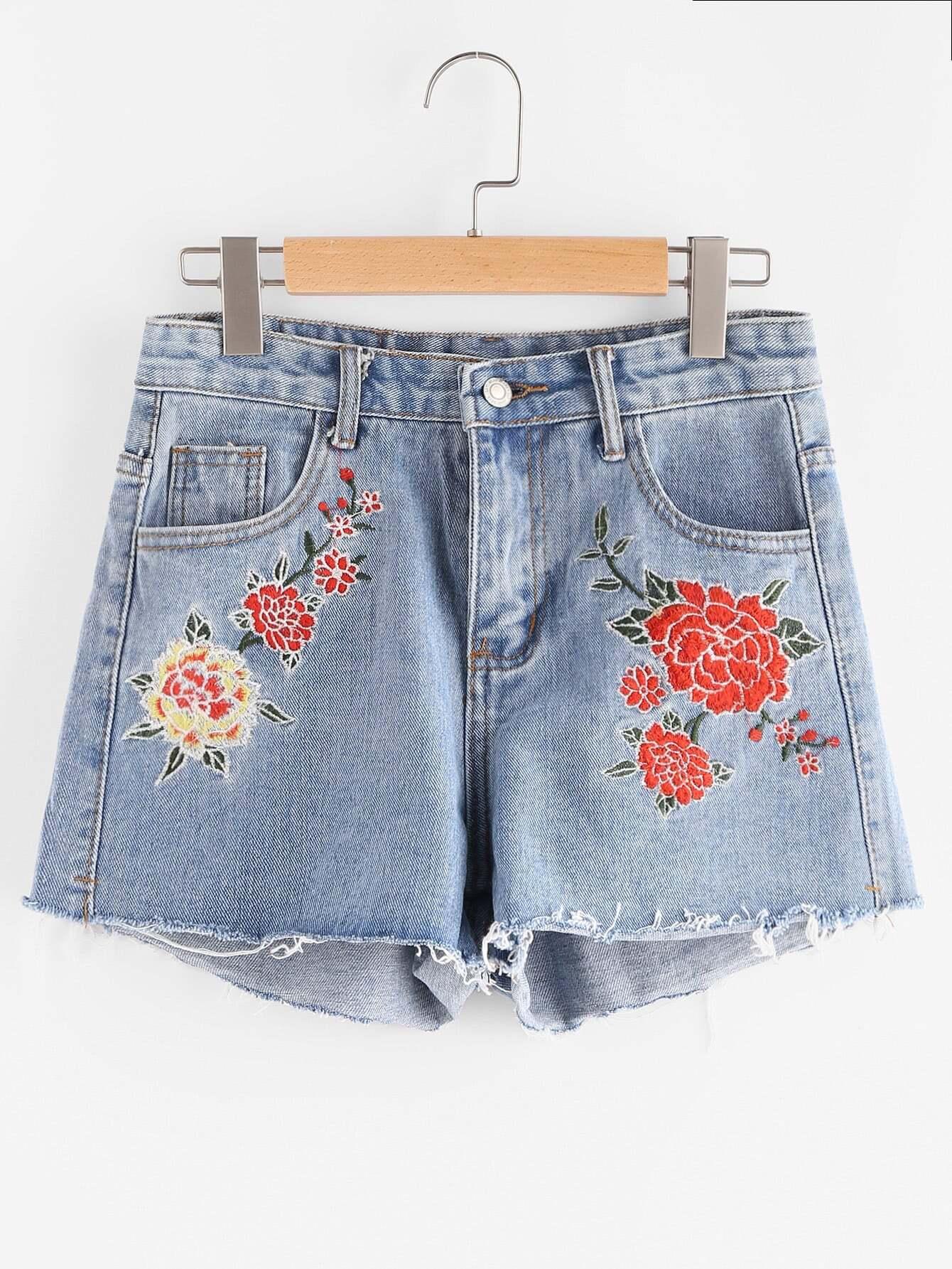 Фото Embroidery Raw Hem Denim Shorts. Купить с доставкой