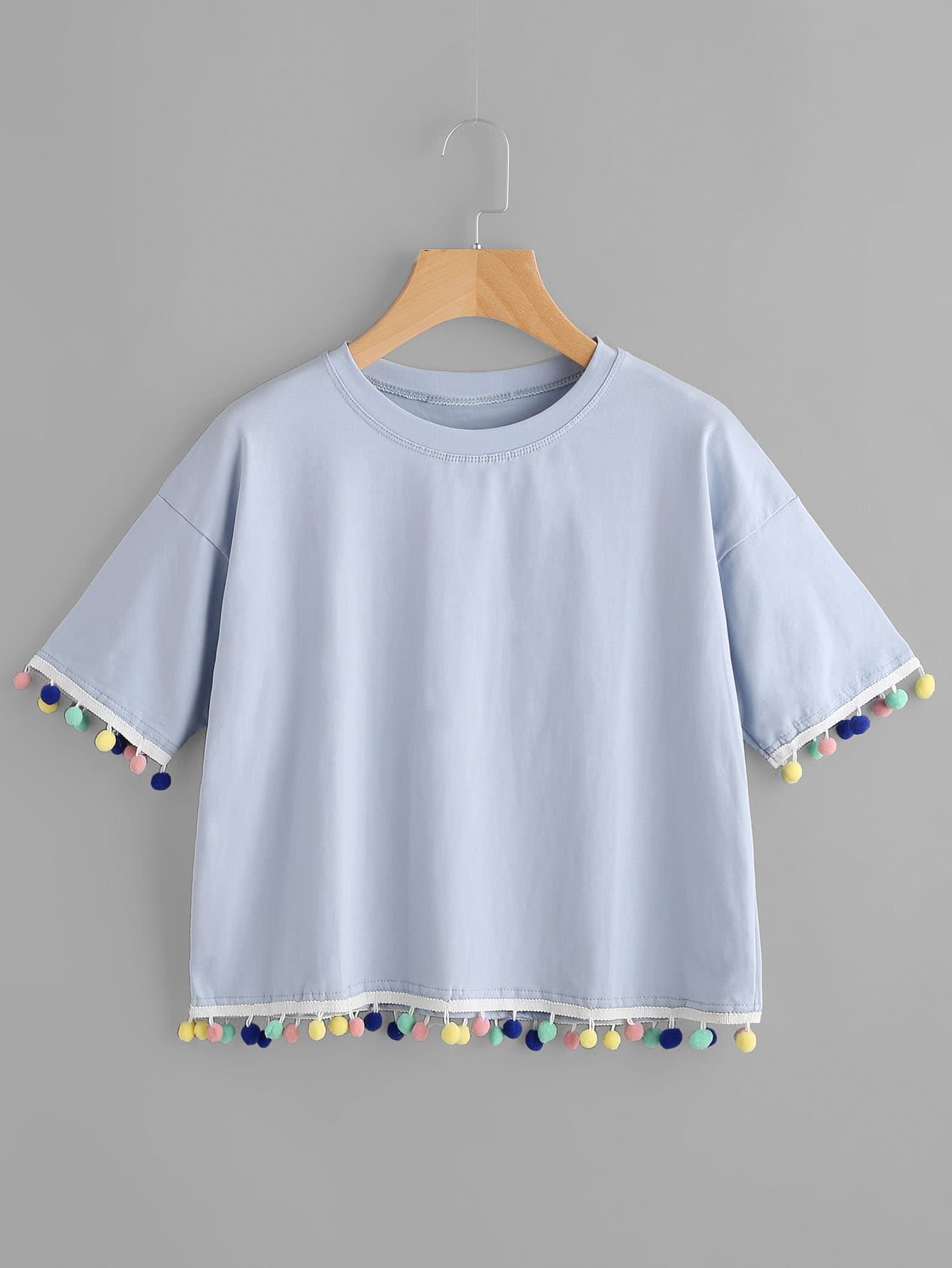 Фото Pom Pom Hem Ringer Tshirt. Купить с доставкой