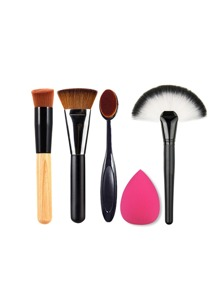 Makeup Brush Set With Puff