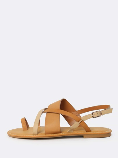 Cross Strap Thong Sling Back Sandals NATURAL